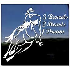 Amazon Com 3 Barrels 2 Hearts 1 Dream Cowgirl Barrel Racing Horse Trailer Vinyl Window Decal Sticker Kitchen Dining