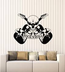 Vinyl Wall Decal Scary Skull Music Rock And Roll Electric Guitar Stick Wallstickers4you