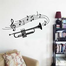 Personalized Name Stickers Trumpet Musical Instrument Music Notes Wall Decal For Home Lx312 Wall Stickers Aliexpress