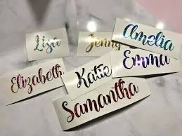 Shimmery Name Vinyl Decal Glitter Name Sticker Crafting Wedding Ebay
