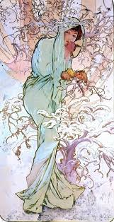 Alphonse Maria Mucha The Four Seasons Winter 15 X30 Wall Decal Traditional Wall Decals By Art Megamart