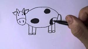 Dạy bé vẽ các loài động vật - Dạy bé vẽ con bò sữa - How to draw a ...