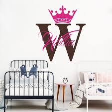 Custom Name Crown Wall Decal Baby Nursery Personalized Name Queen King Crown Wall Sticker Kids Room Art Lw273 Wall Stickers Aliexpress