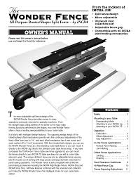 Incra Wonder Fence User Manual 12 Pages