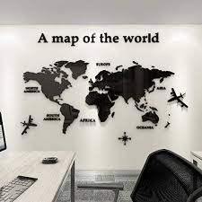 Amazon Com Fanfan Acrylic 3d Wall Stickers World Map Wall Decal For Office Decoration Black Large Home Kitchen