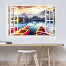 One Piece 3dwindow Sticker Landscape Wall Decal Snow Mountain Lake Nature Wallpaper Window View Vinyl Home Decor Living Room Decoration Living Room Home Decor Living Roomwall Decals Aliexpress