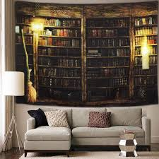 Amazon Com Vintage Library Bookshelf Tapestry Wall Hanging Study Room Picture Art Print Tapestry Retro Bookshelf Wall Art Bohemian Hippie Wall Tapestries For Bedroom College Dorm Decor Everything Else