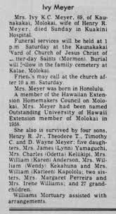 Obituary of Ivy Kam Chee Meyer, 1979 - Newspapers.com