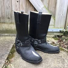 stingray skin biker boots black leather
