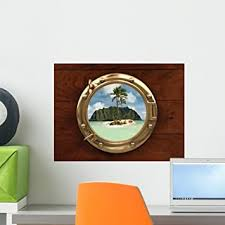 Amazon Com Wallmonkeys Submarine Peephole Window To Exotic Island Wall Decal Peel And Stick Graphic Wm288135 18 In W X 14 In H Home Kitchen