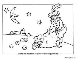 Zwarte Piet Met Een Zak Vol Sinaasappelen Kleurplaat