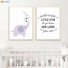 Nursery Elephant Print Purple Lilac Wall Art Twinkle Quotes Rhyme Poster Minimalist Canvas Painting Kids Room Decoration Picture Painting Calligraphy Aliexpress