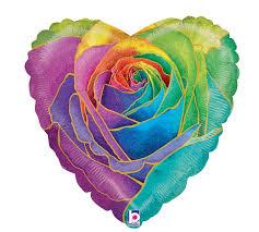 18 pkg rainbow rose holographic heart
