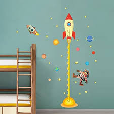 Amazon Com Decalmile Space Planets Rocket Height Chart Stickers Kids Room Wall Decor Removable Measurement Wall Decals For Kids Bedroom Nursery Baby Room Classroom Furniture Decor