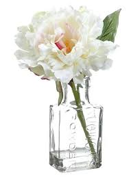 cream pink silk peony in glass vase