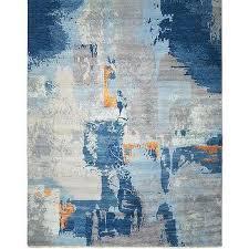ivanna blue orange splash rug