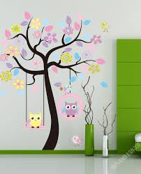 Removable Wall Stickers Children S Room Baby Nursery Classroom Home Decoration Stickers Cartoon Swingi Owl Tree Wall Decal Kids Wall Decals Wall Decor Stickers