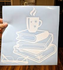 For Bookworms Cup Of Coffee On Stack Of Books W Glasses Decal For Ho Ftw Custom Vinyl