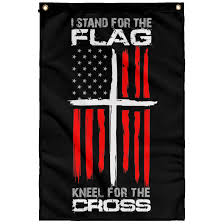 I Stand For The Flag Kneel For The Cross Wall Flag Custom Sticker Shop