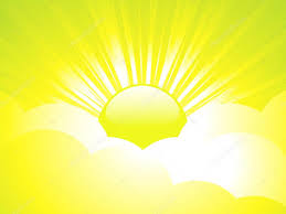 Bright glossy sun shining through abstract clouds with sun rays — Stock  Vector © elaineitalia #12634497