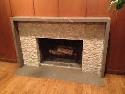 slab and tile fireplace surround