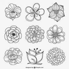 black and white flowers clipart vectors
