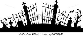 Cemetery Gate Silhouette Theme 1 Eps10 Vector Illustration