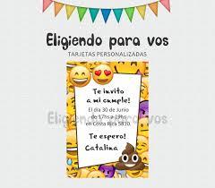 Tarjetas De Invitacion Personalizadas Cumple Emojis 5 00 En