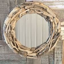 fair trade round driftwood mirror