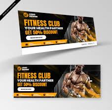 fitness club banner premium psd file