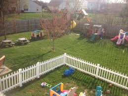 Outdoors Play Areas White Fence Keeps Toddlers In Fence Within A Fence Backyard Kids Play Area Backyard For Kids Kids Play Area