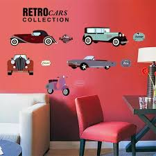 Cartoon Retro Cars Wall Stickers For Kids Rooms Child Room Decoration 7213 Nursery Decor Wallpaper Wall Decals Cars Sticker Sticker For Kids Room Wall Stickers For Kidscars Wall Stickers Aliexpress
