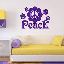 Wall Decal Flower Peace Sign Bohemian Style Girl Lettering
