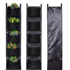 Mucalis Vertical Garden Wall Hanging Planter For Outdoor Indoor Plants 5 Bigger Deeper Pockets Wall Mounted Hanging Wall Planter Fence Balcony Herb Flower Planter Bag With Tool Storage