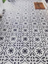 tile stencil painted concrete porch