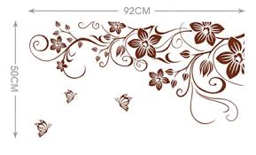1 Flower Vine Wall Stickers 3d Butterfly Decorative Home Decor For Living Room Decorate Decals Removable Vinyl Stickers 50 70cm In Wall Stickers From Home Garden New Year Decor Wall