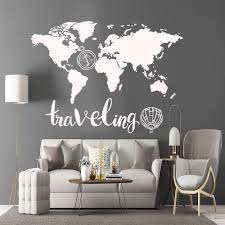 Fun World Map Vinyl Kitchen Wall Stickers Wallpaper For Living Room Bedroom Background Wall Art Decal Buy At The Price Of 6 13 In Aliexpress Com Imall Com