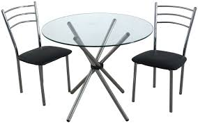 glass round dining table and 2 chairs