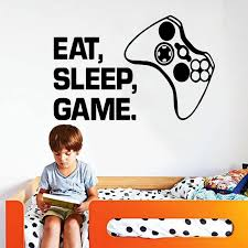 Carved Gamer Wall Sticker Vinyl Mural Wallpaper For Kids Boys Room Decoration Decals Ps4 Gaming Poster Decor Door Stickers Alley Corner Nordic Wall Decor Home Decor