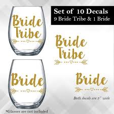 Bride Tribe Decals Set Of 10 For Wine Glasses Tumblers Etsy