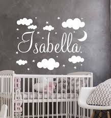 Custom Girls Boys Name Decal Vinyl Wall Stickers For Baby Nursery Room Clouds Wall Decor Moon Stars Sticker For Kids Rooms A05 Wall Stickers Aliexpress