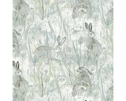 dune hares fabric in mist blue pebble