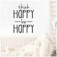 Think Happy Be Happy Vinyl Lettering Wall Quote Self Adhesive Etsy