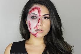 half zombie halloween makeup tutorial