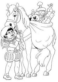 Kleurplaat Sinterklaas Piet En Paard Met Afbeeldingen