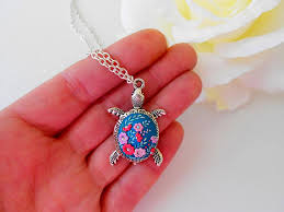 silver turtle necklace flower necklace