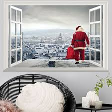 3d Fake Window Wall Stickers Removable Faux Windows Wall Decal Christmas Sticker Ebay
