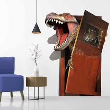 Dinosaur Breaks The Door Creative 3d Wall Sticker Living Room Bedroom Decoration Wallpaper Decals Wallpaper Kids Rooms Stickers Wall Stickers Aliexpress