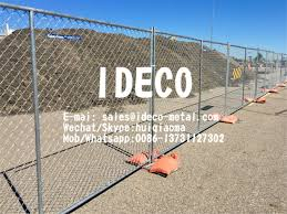 Temporary Chain Link Fence Panel With Stands Portable Steel Construction Sites Barriers Road Safety Fencing