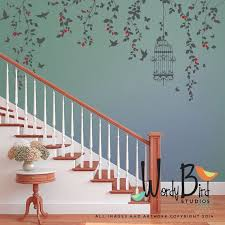 Hanging Vines Floral Wall Stickers Set Met Birdcage Vogels Vlinders En Bloemknoppen Voor Girl Nursery Decor Wb701 Wall Painting Decor Floral Wall Decals Wall Stickers Vines
